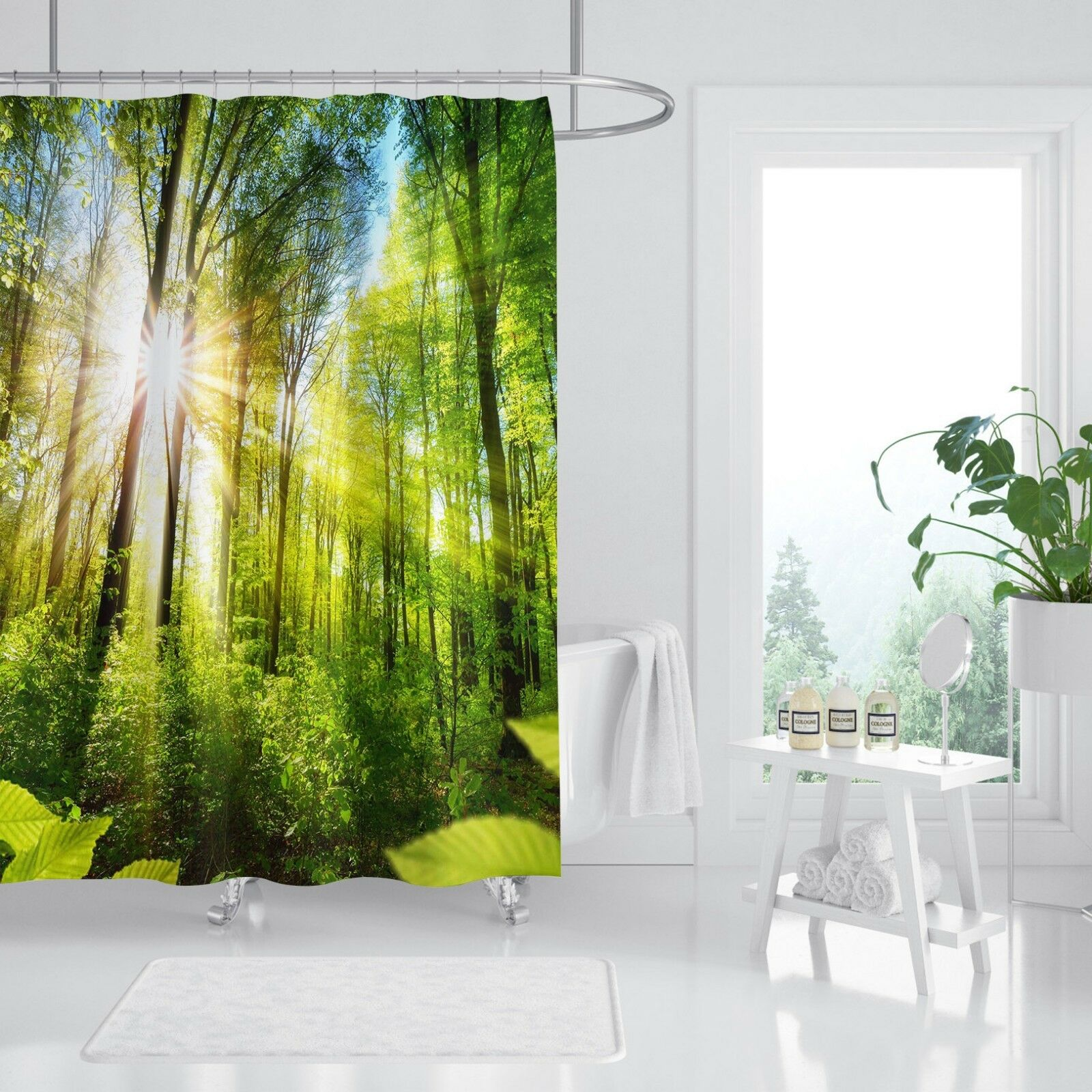 3D nature forêt 53 Rideau de Douche Imperméable Fibre Salle de Bain Home Windows Toilette