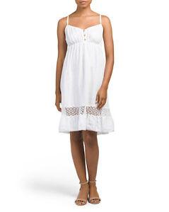 09a8e7b3fa Bellambra Spaghetti Strap Crochet Linen Dress White Sz XS S NWT Made ...