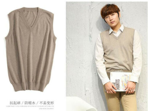 6624 New Men/'s Cashmere Loose Pullover V Neck Knit Long Sweaters Jumpers Vest