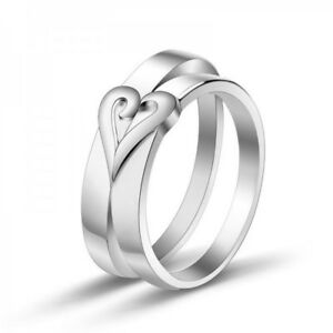 ea00419bbcbb2 Details about 925 Sterling Silver Couple's Matching Heart Couple Rings  Valentine Gifts Couples