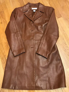 Preston-amp-York-Women-s-Cognac-Genuine-Lambskin-Leather-Coat-Size-Medium