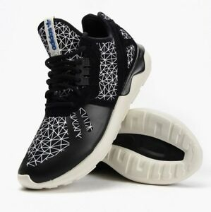 buy popular e7b7b adeec Details about NIB MENS TUBULAR RUNNER YEEZY KANYE WEST BLACK WHITE PRINT  ATHLETIC FASHION SHOE