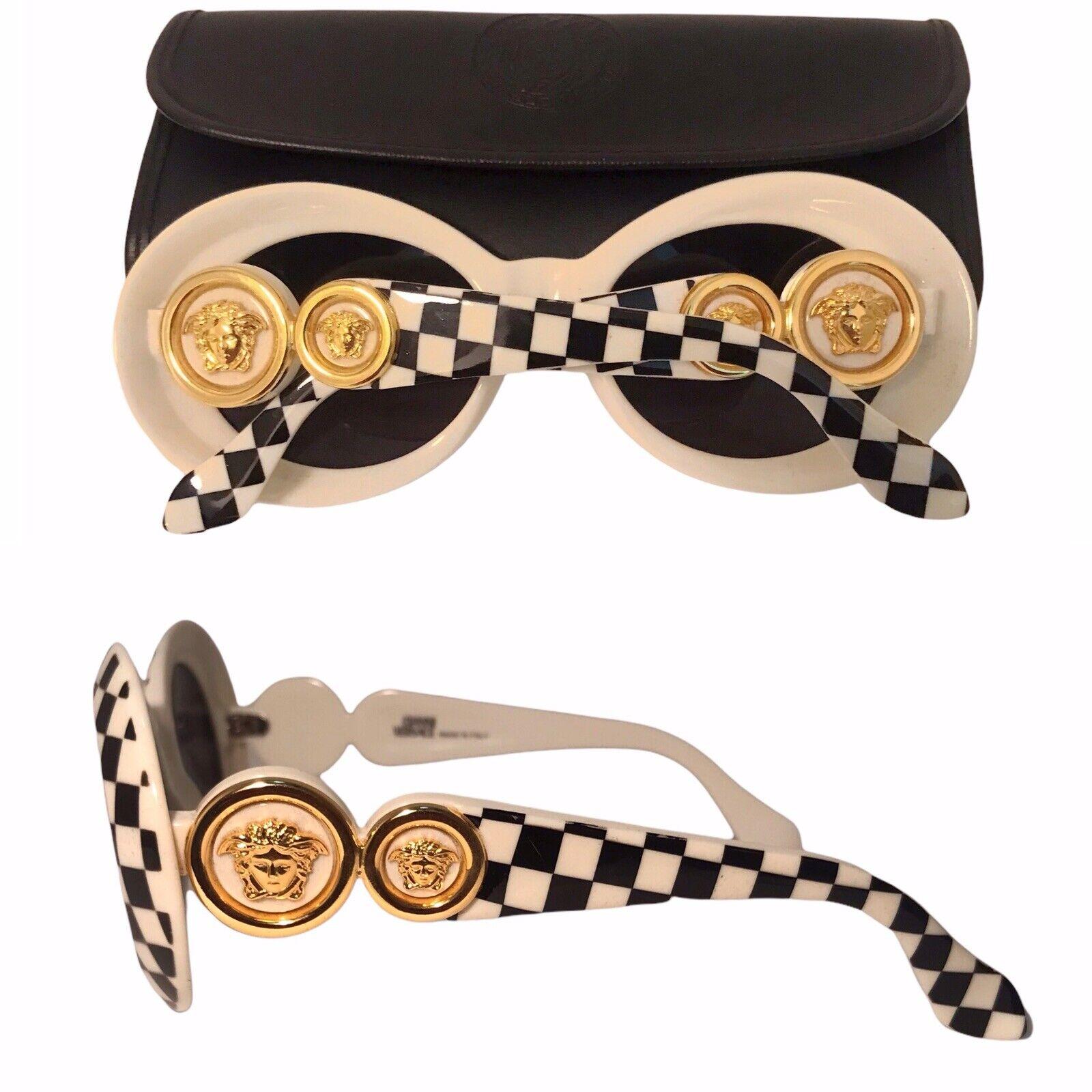 Vintage Gianni Versace checkered sunglasses Mod 4… - image 1