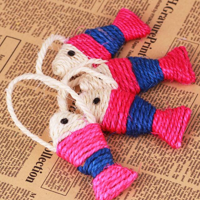 Pet Cat Kitten Fish Shape Sisal Scratching Post Scratch Board Play Fun Knit Toy