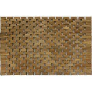 2 Pcs Handmade Tan Teak Wood Geometric