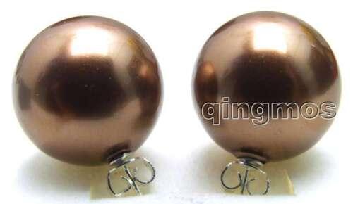 18mm Brown Round Sea Shell Pearl Earring Women Stering Silver 925 Stud ea425