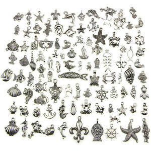 Retro-Silber-100x-Bulk-Lots-Mix-Ocean-Charm-Anhaenger-Schmuck-xj