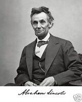 President Abraham Lincoln 1865 Portrait Autograph 8 X 10 Photo Picture H1