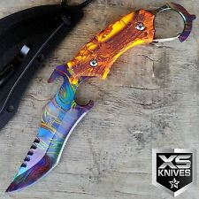 "8.5"" CS:GO Counter Strike ORANGE Karambit Survival Neck Rainbow Knife w/ CLIP"