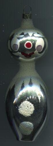 Alter Weihnachtsschmuck Christbaumschmuck Glas gößerer Schneemann hübsch+Glimmer