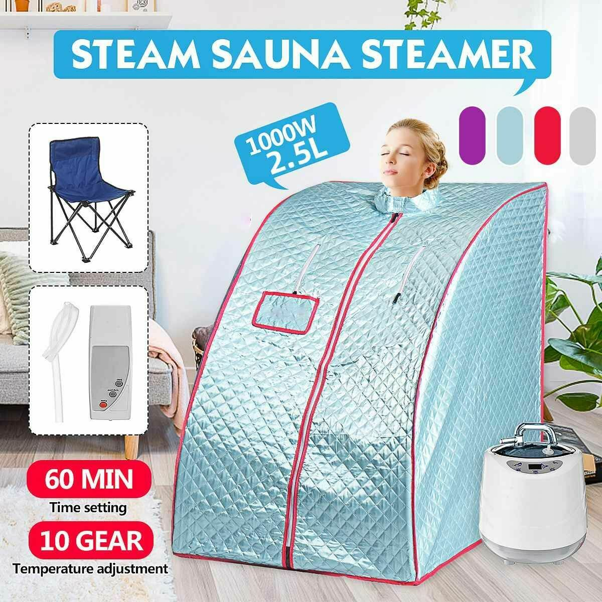 Sauna Sweat Steamer Portable Steam Bath With Fold Chair For Ease Insomnia 1000W