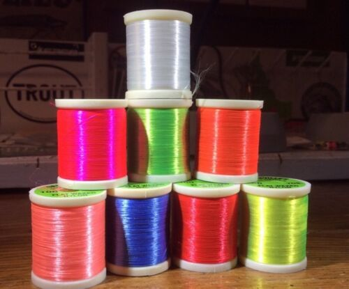 8 Danville /'Waxed Thread fluorescent. fly tying salmon steelhead 210 deniers
