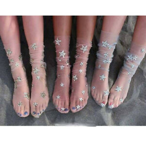 583e9ddddd0 Image is loading Women-Fashion-Glitter-Star-Mesh-Sock-Transparent-Elastic-