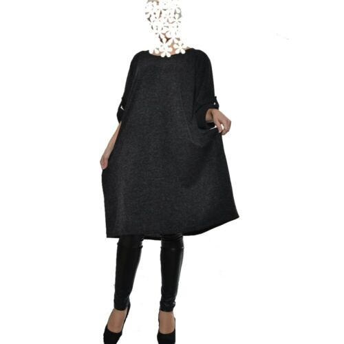 Tunika Maxi Ballonkleid Kleid Warm Boho Blau Grau Rot 44 46 48 50 L XL