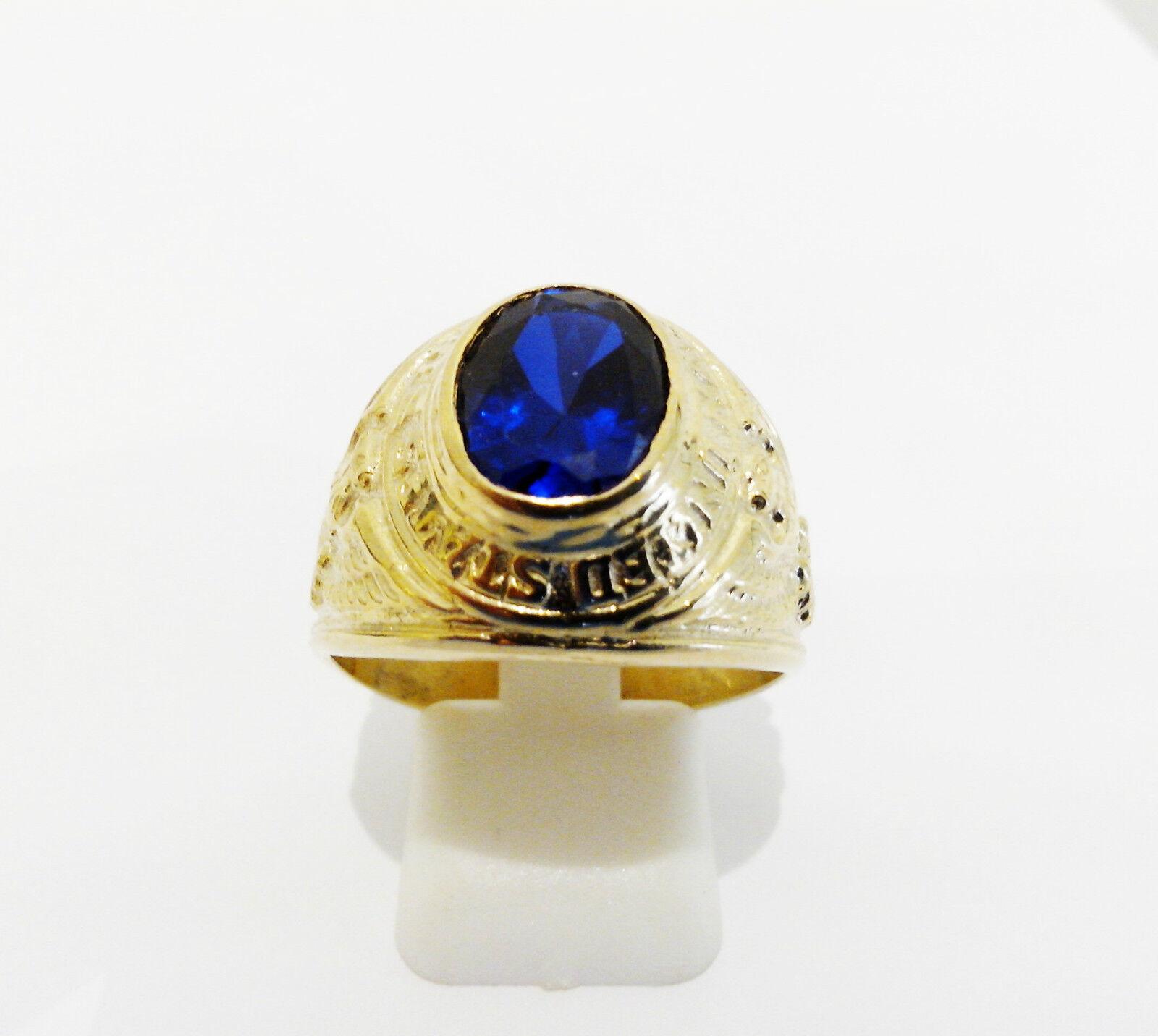 Bague chevalière universitaire or yellow 375 1000 pierre blue