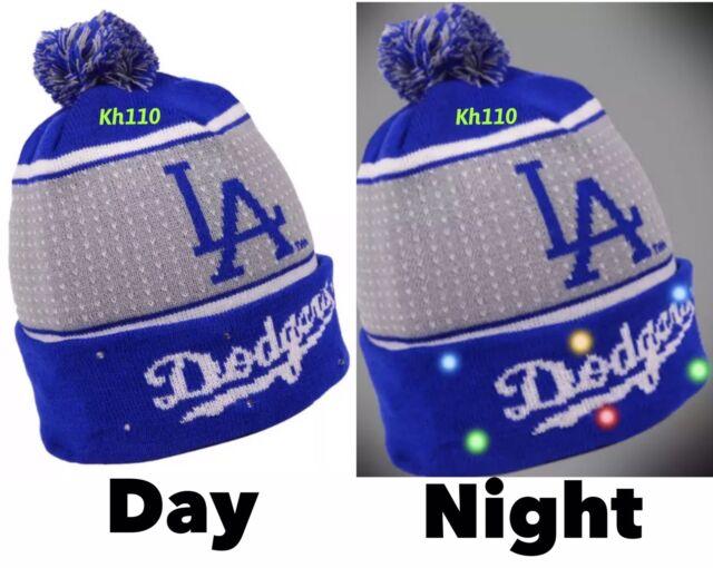 d04922ab8af Los Angeles Dodgers Big Logo Light up Beanie 2018 Style MLB Winter Cap Hat