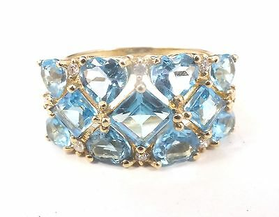 375 9ct YELLOW GOLD Blue & Clear Gemstone Ring Size L, 4.23g - B55