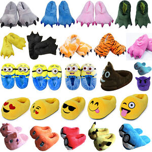 4a99c89179d8ca Image is loading Adults-Kids-Slippers-Cartoon-Cosplay-Winter-Warm-Plush-