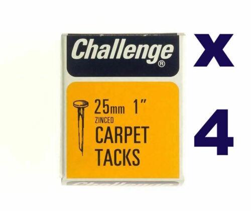 Zinc Plated 25mm Box Pack 4 x Challenge Carpet Tacks