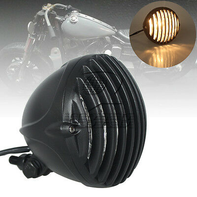 Black 5'' Motorcycle Metal Scalloped Headlight Grill For Harley Chopper Bobber