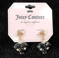 Juicy Couture Crowns Gold Tone & Black & White Crystal Stud Earrings