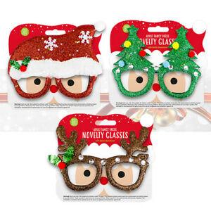 Christmas Adult Novelty Glitter Glasses Fancy Dress Xmas House Office Party Fun