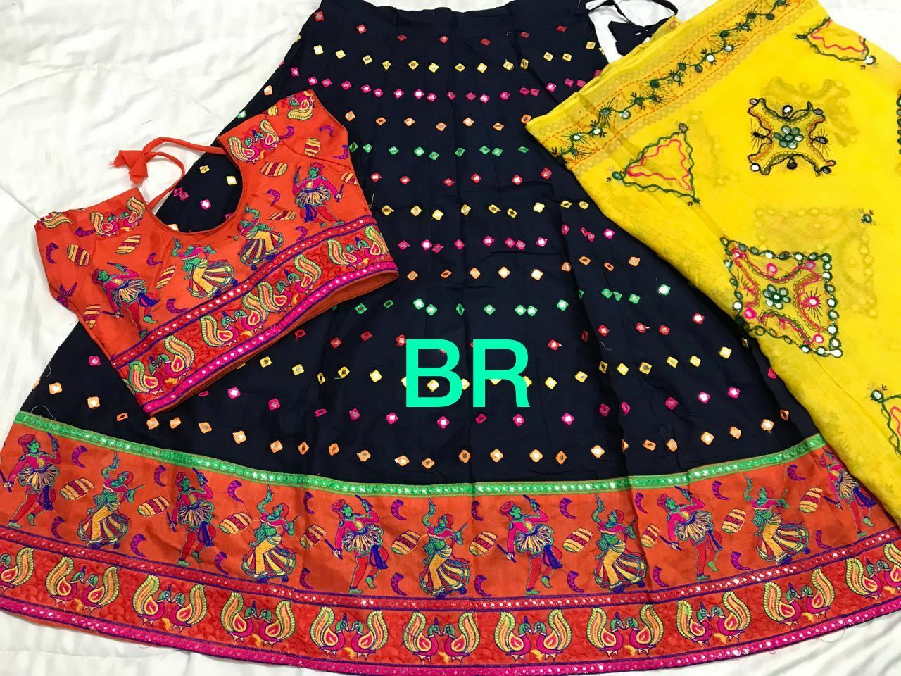 Traditional chaniya choli cotton gamthi work with foil mirror with full stich