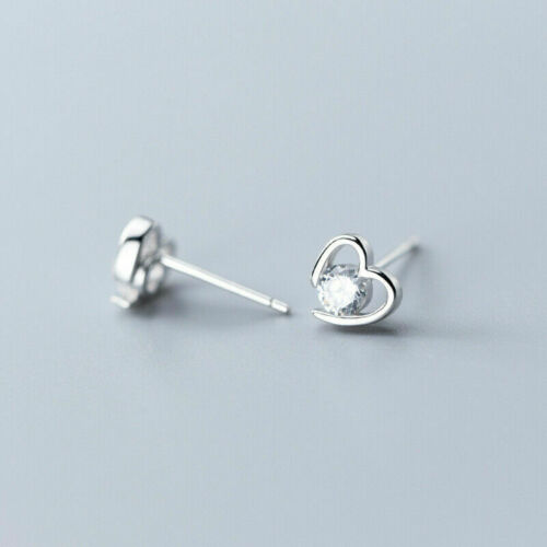 Silver Small Sparkly Heart Crystal Diamante Stud Earrings