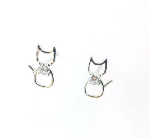 Cute Sterling Silver /& Diamante Cat Stud Earrings