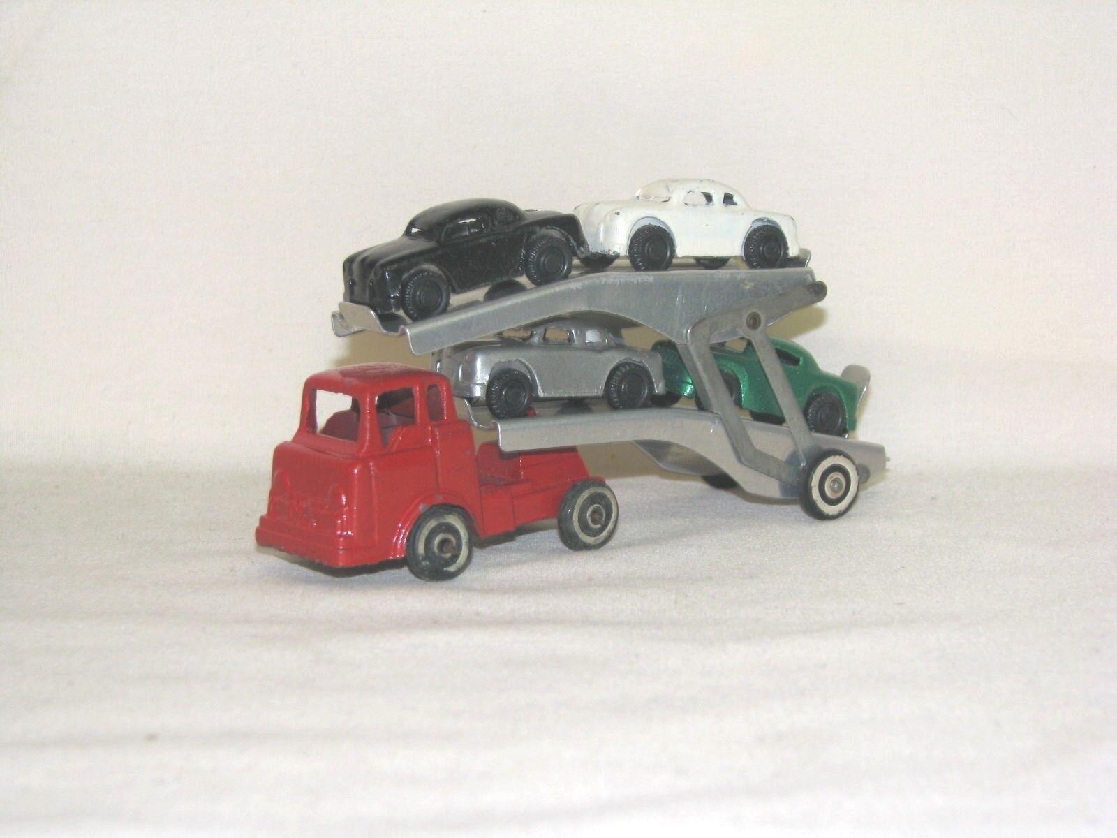 2 VINTAGE BARCLAY TRANSPORT CAR HAULER W/bianca  WALL TIRES, MODERN SERIES, SLUSH