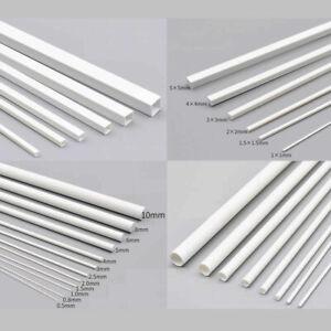 ABS-Styrene-Plastic-Strip-White-Tube-Round-Bar-Rods-Square-Bar-Rod-250mm-Length