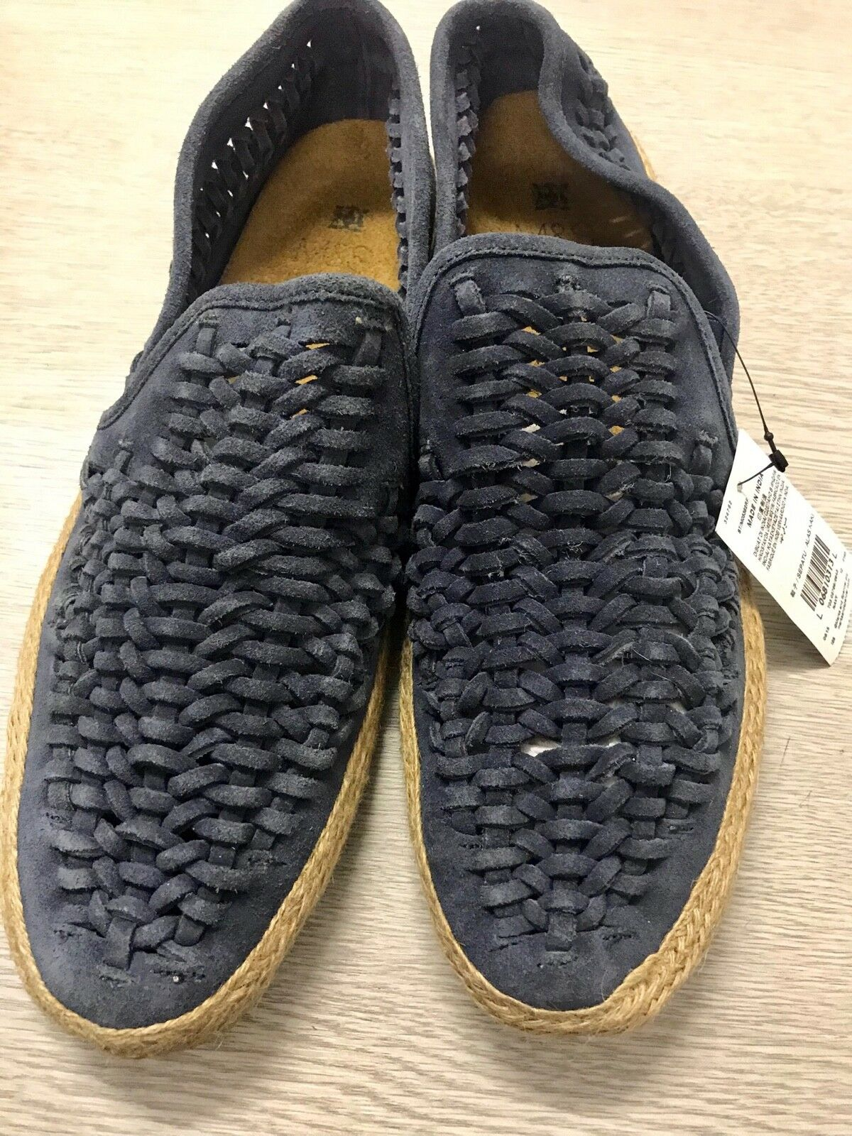 M&S Mens Navy Leather Slip On Casual Sandals shoes Size  12