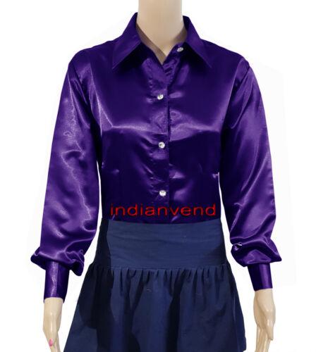 Bläuliches Lila Satin Damen Button Down Hemd mit festem Kragen Langarm Bluse Top