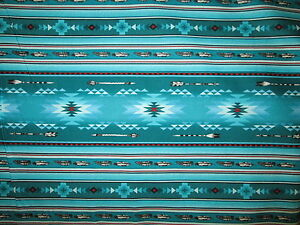Navajo-Native-American-Feather-Arrow-Teal-Red-Black-Print-Cotton-Fabric-FQ
