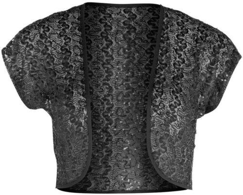 Femmes Neuf Noir Sequin Dentelle BOLERO SHRUG haut Taille 14 16 18 20 22 24 26 Lick *