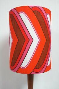 Original-70s-80s-Fabric-Lampshade-Retro-25cm-Drum-Red-Pink-White-Brown