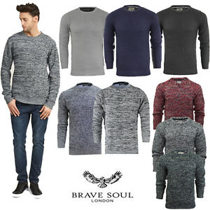 Mens-Crew-Neck-Long-Sleeve-Chunky-Cable-Knit-Jumper-Pullover-Winter-Sweater-Top