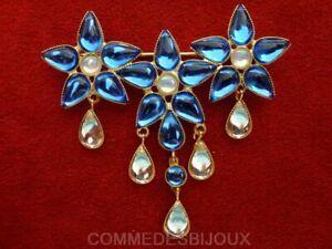 """Broche """"3 Fleurs Stars"""" cristal Bleu Blanc Gouttes Mouvantes - Bijoux pur Cadeau"""