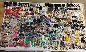 Huge Lot 282Pr Vintage to Modern Pierced Earrings Enamel Dangle Colorful Jewelry