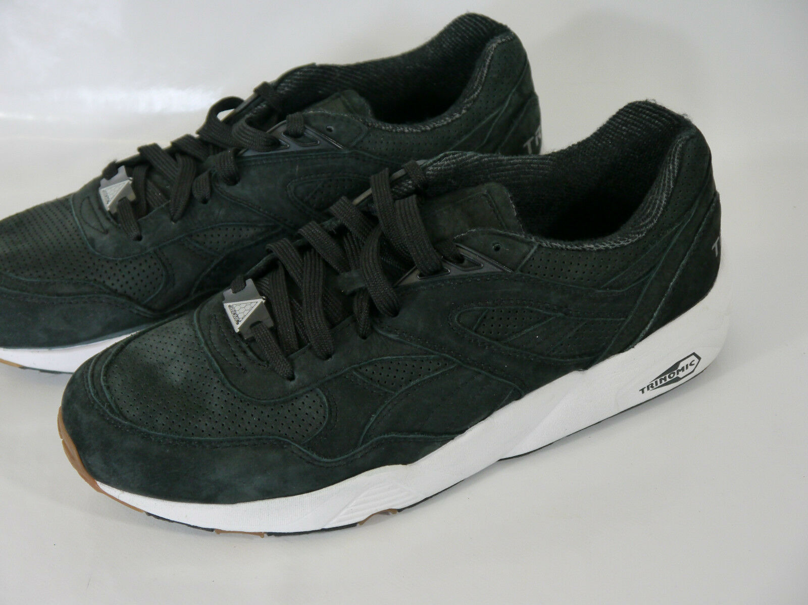 PUMA PERFORATED Noir LEATHER Hommes TRAINERS 8 EUR 42 US 9