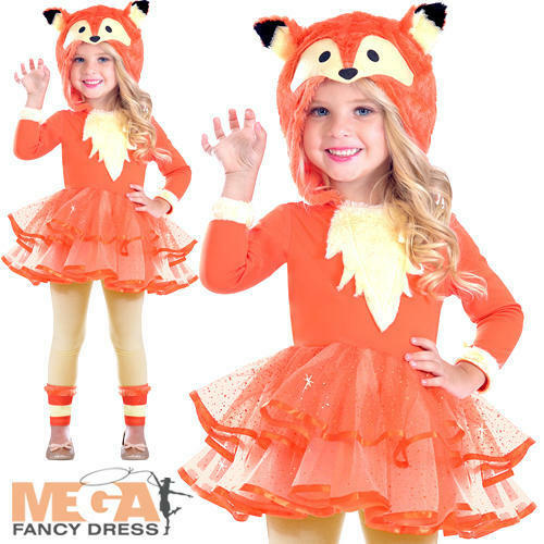 FOX Girls Costume Mondo Animale Libro Giorno Costume Personaggio Per Bambini Nuovo