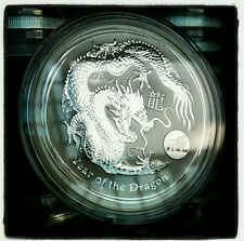 2012 1oz .999 Fine Silver Australian Lunar Year of the Dragon Lion Privy Coin