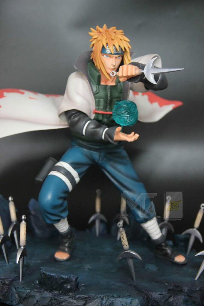 NEW Naruto Yondaime Hokage Namikaze Minato Statue Resin Figures Double-headed