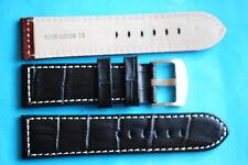 Uhrband im Kroko Stil schwarz stabil 24mm  Breitdornschließe auch für Panerai