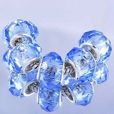 5 Blue Transparent Murano Glass White Gold Plated Charms Bead Fit Snake Bracelet