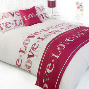 Love-Pink-White-Print-Patterned-Bed-in-a-Bag-Duvet-Quilt-Cover-Bedding-Set
