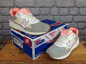 NEW-BALANCE-580-LADIES-UK-5-EU-37-5-WHITE-GREY-TRAINERS-RRP-85