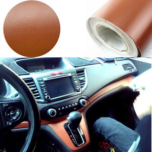 3d leather texture vinyl wrap film sheet car interior trim decal sticker brown ebay for Vinyl wrapping interior trim