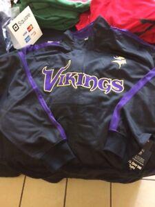 separation shoes 10ffa a06a9 Details about Minnesota Vikings Men's Big & Tall 2XLT; 3&4XL, Full-Zip  Track Jacket NFL Black