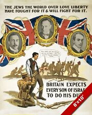 WWI BRITISH JEWISH ARMY RECRUIT PROPAGANDA POSTER REAL CANVAS WAR ART PRINT